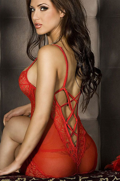 Red lace Chemise + String